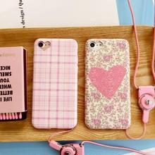 [KS065] ★ iPhone 6 / 6Plus / 7 / 7Plus ★ シェル型 ケース ピンク ハート チェック フラワー ハート型 カメラ ウィンドウ ロマンチック & ラブリー