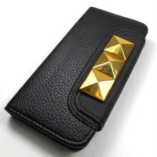 [YS039] iPhone5 /5s ケース ビッグピラミッド スタッズ 手帳 タイプ ( ゴールド / シルバー ) カード 収納 スマホ アイフォン カバー 財布 レザー 革