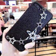 [NW154]  ★ iPhone 6 / 6s / 6Plus / 6sPlus / 7 / 7Plus ★ シェルカバー ケース 星 ビジュー ハンド チャーム アクセサリー