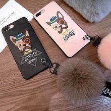 [MD081]  ★ iPhone 6 / 6s / 6Plus / 6sPlus / 7 / 7Plus / 8 / 8Plus / X ★  シェルカバー ケース 刺繍 可愛い ドッグ メガネ