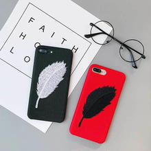 MD095] ★ iPhone 6 / 6s / 6Plus / 6sPlus / 7 / 7Plus / 8 / 8Plus ★  シェルカバー ケース フェザー 刺繍 シンプル