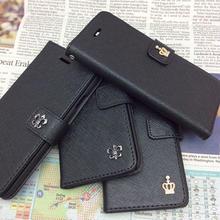 【TH087】★ iPhone 6 ★  レザー 調 手帳 型 ブラック 3種 おまけ 付 ( ブラック ) おしゃれ シンプル クラウン ストーン
