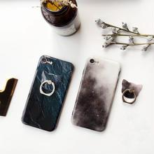 [NW293]★ iPhone 6 / 6s / 6Plus / 6sPlus / 7 / 7Plus ★ シェルカバー ケース 大理石 宇宙柄 ネコ型 バンカーリング