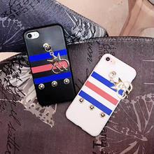 [NW266] ★ iPhone 6 / 6s / 6Plus / 6sPlus / 7 / 7Plus ★シェルカバー ケース 王冠チャーム ボーダー スタッズ トリコロール