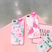 [NW408]  ★ iPhone 6 / 6s / 6Plus / 6sPlus / 7 / 7Plus / 8 / 8Plus / X ★ シェルカバー フラミンゴ 立体 フラワー 3D ピンク