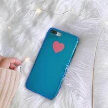 [MD131]  ★ iPhone 6 / 6s / 6Plus / 6sPlus / 7 / 7Plus / 8 / 8Plus / X ★ シェルカバー ケース ハート ミラー ブルー 可愛い