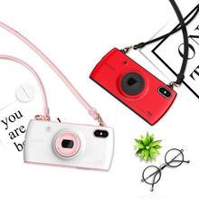 [MD269] ★ iPhone X ★ シェルカバー ケース カメラ ロング ストラップ バイカラー 可愛い お洒落 ポップ ユニーク