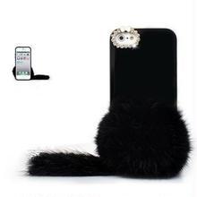 [KK077]iPhone 5/5s iPhone 5c ケース ラビットファーボール しっぽ付 (ブラック/ホワイト/レッド)