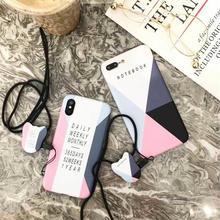 [MD244] ★ iPhone 6 / 6s / 6Plus / 6sPlus / 7 / 7Plus / 8 / 8Plus / X ★ シェルカバー ケース 大理石 ストラップ 犬 ロゴ