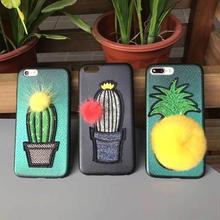 [MD107] ★ iPhone 6 / 6s / 6Plus / 6sPlus / 7 / 7Plus / 8 / 8Plus / X ★ シェルカバー ケース 刺繍 ファー サボテン フルーツ
