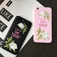 [NW259] ★ iPhone  6 / 6s / 6Plus / 6sPlus / 7 / 7Plus ★ シェルカバー 花柄 GOOD TODAY ロゴiPhone ケース