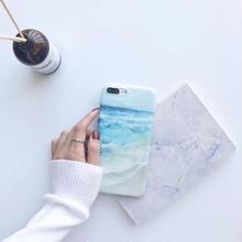 [NW275]★ iPhone 6 / 6s / 6Plus / 6sPlus / 7 / 7Plus ★ シェルカバー ケース波 海岸 ブルー 水彩 イラスト iPhone ケース