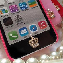 [CT001]スワロフスキー ホームボタンアクセサリー iPhone・iPad・iPod共通 (クラウン/リボン/ チェリー/ ホワイトダイヤモンド/ レインボークリスタル)