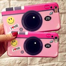 [KS056] ★ iPhone 6 / 6Plus / 7 / 7Plus ★ シェル型 ケース ピンク にこちゃん POP な イラスト と ロゴ が たのしい カメラ 風 iPhoneケース