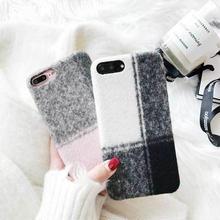 [MD230] ★ iPhone 6 / 6s / 6Plus / 6sPlus / 7 / 7Plus / 8 / 8Plus / X ★ シェルカバー ケース ふわふわ チェック オトナ 可愛い