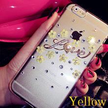 【EU003】 ★ iPhone6 ★ Love クリスタル & フラワー クリア ハードケース ( ピンク / レッド / ホワイト  / イエロー)クリア パール 上品 かわいい