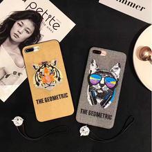 [NW383] ★ iPhone 6 / 6s / 6Plus / 6sPlus / 7 / 7Plus / 8 / 8Plus ★ シェルカバー ケース アニマル ネコ トラ 刺繍 キャンバス