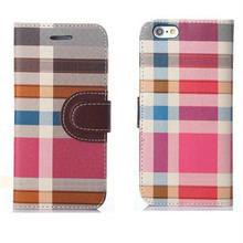【EU026】★ iPhone6/6plus ★ カラフルチェック 手帳タイプ かっこいい かわいい 大人 個性的 チェック カードホルダー 二つ折り