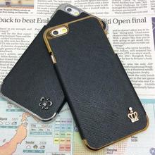 【TH086】★ iPhone 6 ★  レザー 調 ハード ケース ブラック 2種 おまけ ( ブラック ) おしゃれ シンプル クラウン ストーン