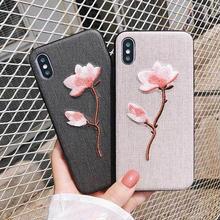 [MD370] ★ iPhone 6 / 6s / 6Plus / 6sPlus / 7 / 7Plus / 8 / 8Plus / X ★ シェルカバー ケース 花 刺繍 可愛い キャンバス