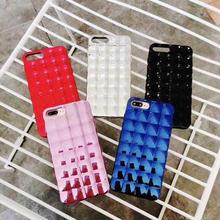 [MD434] ★ iPhone 6 / 6s / 6Plus / 6sPlus / 7 / 7Plus / 8 / 8Plus / X ★ シェルカバー ケース ハート キューブ メタリック 凹凸