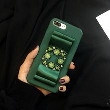 [KS079] ★ iPhone 6 / 6Plus / 7 / 7Plus ★ シェル型 ケース グリーン ブラック ピンク グレー レッド きらきら ビジュー シルキー リボン キレイ