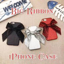 [NW158]  ★ iPhone 6 / 6s / 6Plus / 6sPlus / 7 / 7Plus ★ シェルカバー ケース ビッグ リボン グリッター シャイニー iPhone ケース