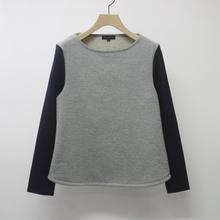 Women's 綿ウール パイル裏毛 袖切り替えボートネック(1510T031-044)