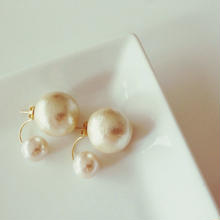 Big cotton Pearl double earring