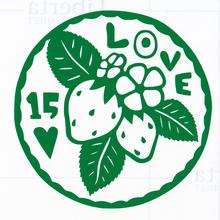 丸型シリーズ【葉っぱのLOVE15ハート】9cm版