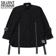 MALCOLM -Zip Wide Shirts- / BLACK