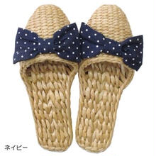 Summer slippers ドット柄リボン