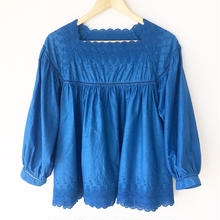 indigo-dyed square neck blouse / 03-8108005