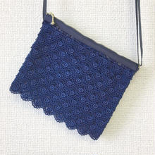 indigo-dyed vanity bag / 03-8110006