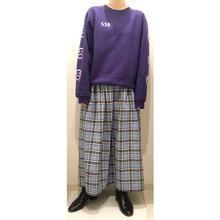 タータンチェック  フレアロングスカート/水色