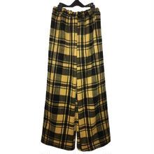 ウール タータンチェック ワイドパンツ/yellow
