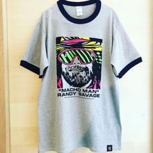 """MACHO MAN"" RANDY SAVAGE FACE リンガー tee-shirt (gray×navy)"