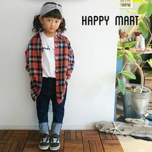 (即納♡)(kids☆)秋♡新作♡チェック柄ロングシャツワンピース