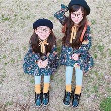 (即納☆)(kids)イエローリボン付アンティーク花柄ワンピース