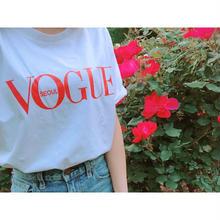 (即納♡)(レディ―ス)VOGUEロゴTシャツ[ホワイト×レッド]