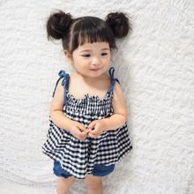 (即納♡)(kids☆)ギンガムチェックキャミ&パンツ&ヘアリボン付3点SET
