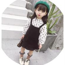 (即納♡)(kids)ドットトップス&ブラックワンピース2点セット♡(ホワイト)
