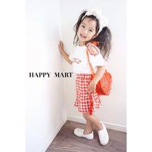 (即納♡)(kids☆)赤ロゴ刺繍Tシャツ&ギンガムスカートSET