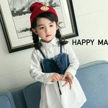 (即納♡)(kids☆)ホワイトシャツワンピース&デニムキャミSET
