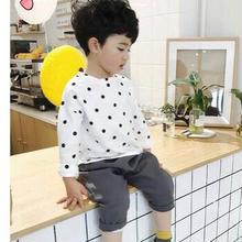 (即納♡)(kids☆)ドット柄リネンロングTシャツ (ホワイト)