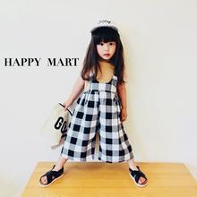 (即納♡)(kids☆)ブロックチェック柄サロペット