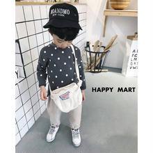 (即納♡)(kids☆)ドット柄リネンロングTシャツ(ブラック)