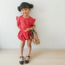 (即納♡)(kids☆)袖フリルトップス&パンツset(ピンク)