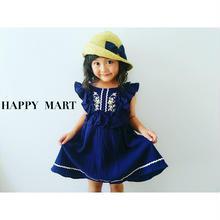 (即納♡)(kids☆)刺繍入ネイビーワンピース