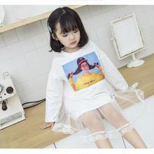 (即納♡)(kids☆)フォトプリントチュールドッキングワンピ (ホワイト)